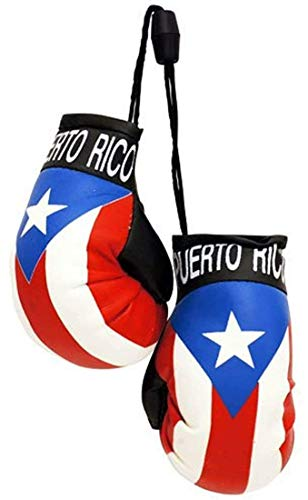 Puerto Rico Country Flag Mini Boxing Gloves to Hang On Car Mirror