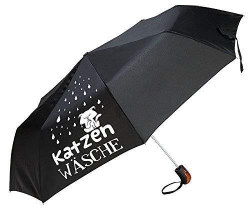 Gilde Regenschirm/Taschenschirm mit lustigem Spruch zum Wetter - 3 Farben und 6 Sprüche zur Auswahl (Katzenwäsche schwarz)