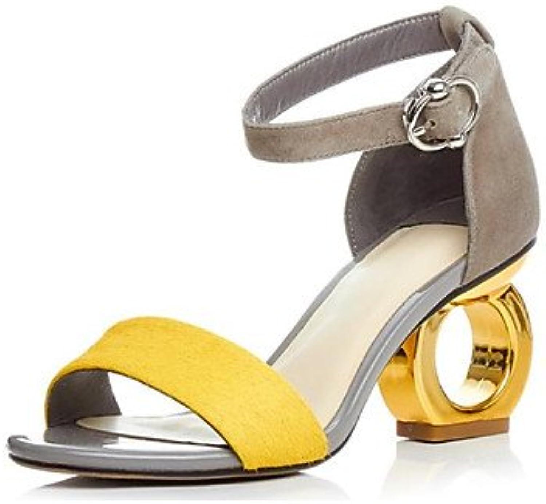 LvYuan-GGX Damen High Heels Pumps Leder Sommer Normal Pumps Spulen Absatz Schwarz Gelb 7,5-9,5 cm, schwarz, us8.5   eu39   uk6.5   cn40