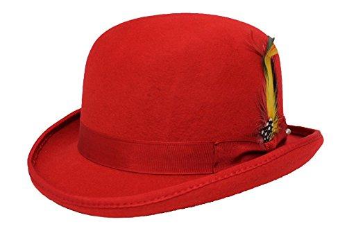 MAZ Hochwertiger Bowlerhut mit Feder, harte Oberseite, 100 % Wolle, mit Satin ausgekeidet Gr. Medium, rot