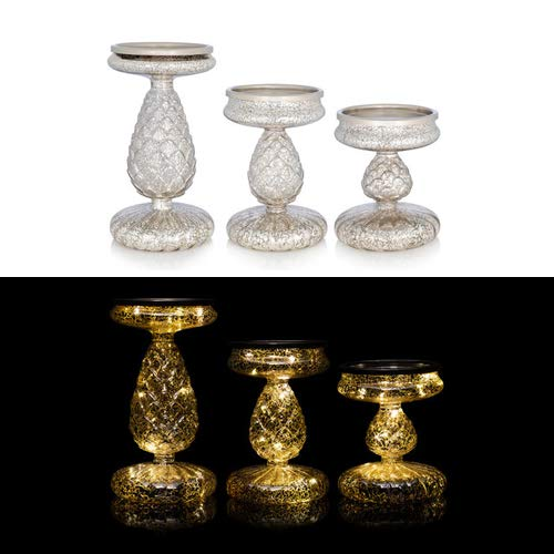 OF 3er Set Kerzenständer für Stumpenkerzen mit LED Beleuchtung (Lichterkette) und Timer - Kerzenhalter aus Glas (Silber)
