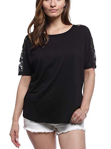 August Silk Women's Lace Shoulder Top, Black, Large