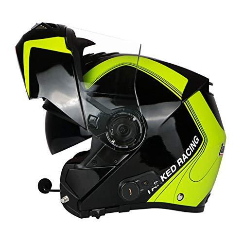 ZLYJ Bluetooth Casco De Motocicleta Frontal Abatible Modular Integrado, Casco De Motocicleta De Choque Modular, Aprobado por ECE Casco De Motocicleta Integral B,XXL(61-62.5cm)