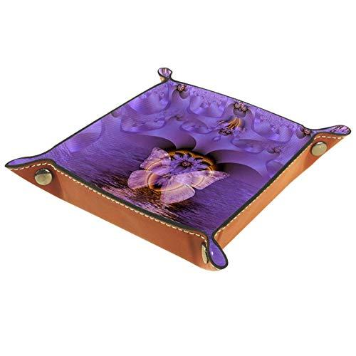 Bandeja de Cuero mariposa Almacenamiento Bandeja Organizador Bandeja de Almacenamiento Multifunción de Piel para Relojes,Llaves,Teléfono,Monedas