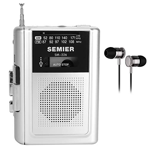 SEMIER Portable Cassette Player Recorder AM FM Radio Stereo -Compact Personal Walkman Cassette Tape Player/Recorder with Built in Speaker and Earphones -Silver