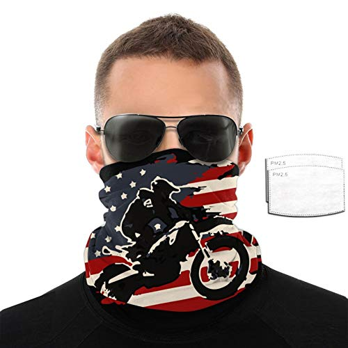 Ramwans Dirt Bike Motocross American Flag Mission Cooling Neck Gaiter With Filter Elastic Unisex Scarf,Bandana,Balaclava,Headband For Men And Women