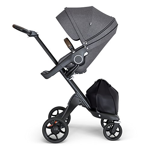 StokkeXplory V6 Black Chassis Stroller with Brown Leatherette Handle,...