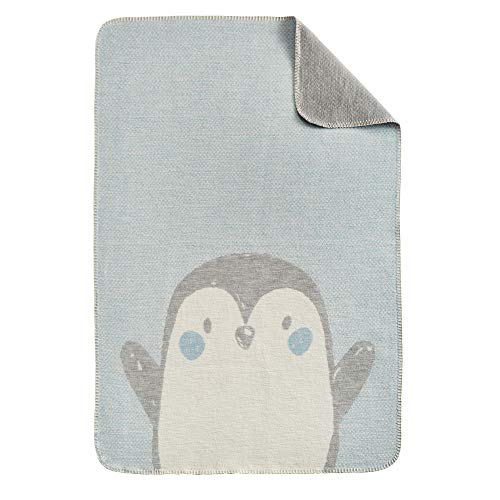 Ibena s.Oliver Pinguin Kinderdecke 070x100 cm - Babydecke hellblau, Reine Baumwolle, Markenqualität Made in Germany