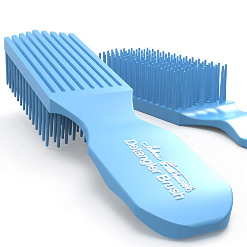 Felicia Leatherwood Blue Turquoise Detangler Brush - For Kinky, Curly, Wavy 4c or Straight Hair - Tame Your Tangles Smooth Your Coils - Pain Free for All Ages