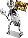 Brubaker Weinflaschenhalter Tennisspielerin - Metall Skulptur Flaschenständer - Wein Geschenk für Tennis Fans mit Grußkarte
