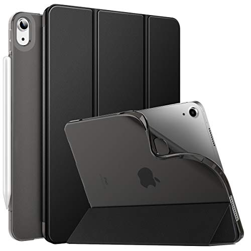 MoKo Folio Hülle Kompatibel mit iPad Air 4. Generation 2020 Neu iPad 10.9 Zoll 2020, [Unterstützt 2. Gen iPencil Laden] Auto Wake/Sleep Schutzhülle TPU Weich Transluzent Rücken Ständer, Schwarz