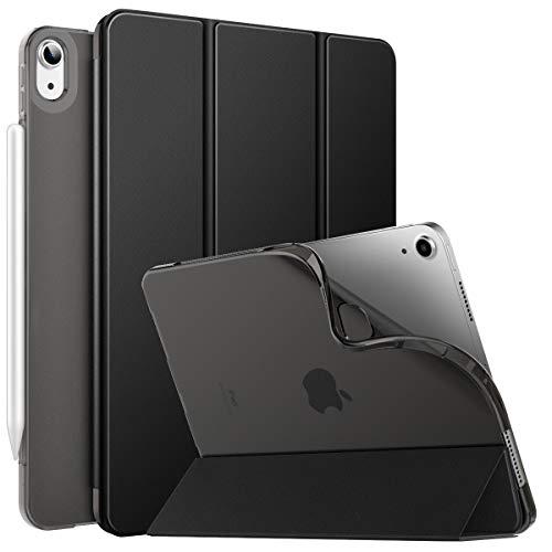 MoKo Cover Protettiva per iPad Air 4a Generazione iPad 10.9 2020, [Supporta Ricarica di iPencil] Auto Sveglia/Sonno Retro Semi-Trasparente in TPU Ultra Sottile Custodia a Tri-Fold, Nero