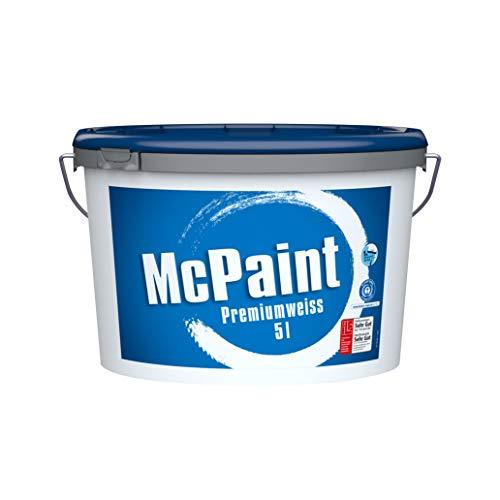 McPaint J121731, weiß, Premiumweiß für den Innenbereich, matt 5 Liter, hochwertige Wandfarbe, beste Deckkraft universelle Innenfarbe, bis zu 40m² -weitere Größen verfügbar