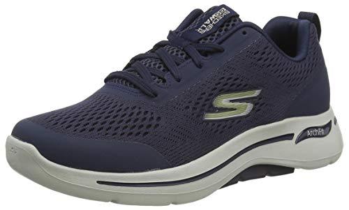 Skechers Herren GO Walk Arch FIT Sneaker, Marineblauer Textil-Kunststoff mit goldfarbenem Rand, 48 EU