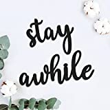 Zingoetrie Kitchen Sign, Stay Awhile Wall Decor for Living Room Bathroom Bedroom Garden Porch Farmhouse Entryway Decor Wooden Signs Wall Art