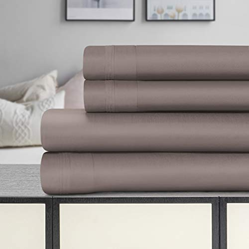 SUPERIOR 1500-Thread Count Egyptian Cotton Solid Deep Pocket Sheet Set, King, Grey, 4-Pieces