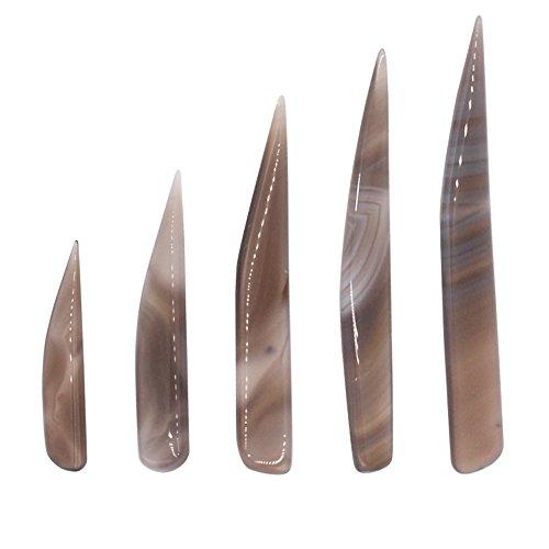 Bruñidor de cuchillo Ágata Cnmade, herramienta de pulido para oro y plata, 5piezas