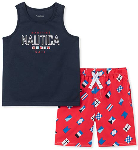 Nautica Boys' Little 2 Pieces Tank Top with Swim Shorts Set, Navy/red Print, 6