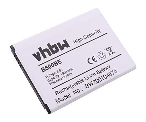 vhbw Li-Ion Akku 1900mAh (3.7V) für Handy Samsung Galaxy S4 Mini, Serrano, GT-I9190, GT-I9192, GT-I9195, SGH-I257 wie B500, B500BE, B500BU.