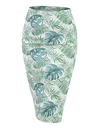 Doublju Stretch Knit Midi Pencil Skirt with Back Slit for Women with Plus Size Greenleaf Small