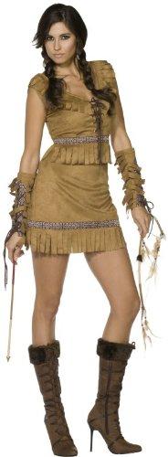 COOLMP Déguisement Indienne Imitation Daim Femme - Taille M - Déguisement pour Adulte, Costume, soirée déguisée, Carnaval, Nouvel an, Anniversaire