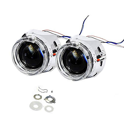 YUFANYA 2.5 Inch H1 Headlight 8.1 Ver Bixenon Projector Lens Hi/Lo Beam With White CREE LED Angel Eyes,Halo Rings DRL Function,Chrome Shrouds Mask, Fit H1 H4 H7 Car Motorcycle Headlight Retrofit
