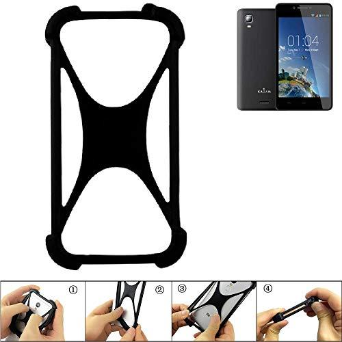 K-S-Trade® Handyhülle Für Kazam Trooper 2 6.0 Schutz Hülle Silikon Bumper Cover Case Silikoncase TPU Softcase Schutzhülle Smartphone Stoßschutz, Schwarz (1x),