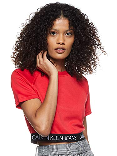 Calvin Klein Logo Elastic Milano Top Camisa, Racing Red, XS para Mujer