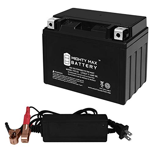 Mighty Max Battery YTZ12S Replacement Battery for Motorcycle FTZ12S + 12V 2Amp Charger Brand Product