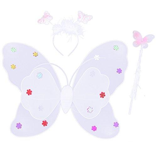 Vococal® 3 Pcs Ailes de Papillon Double-Pont-Bandeau Et Jeu de Baguette-Cosplay Girl/Enfant/Enfants-Costume d'halloween Party-Blanc