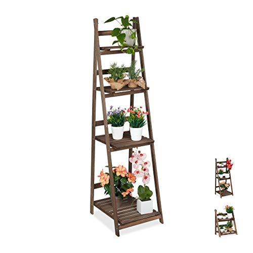 Relaxdays Blumentreppe, 4-stufig, Blumenleiter Holz, klappbar, Leiterregal Pflanzen, HBT: 160 x 41 x 49 cm, dunkelbraun