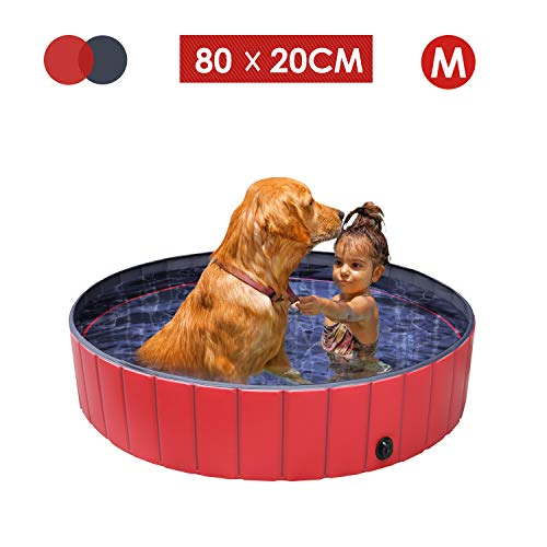 femor Hundepool Swimmingpool Für Hunde und Katzen Schwimmbecken Hund Planschbecken Hundebadewanne Faltbarer Pool mit PVC-rutschfest Verschleißfest Für Kinder Hund Katze Geschenk(80 * 20cm)