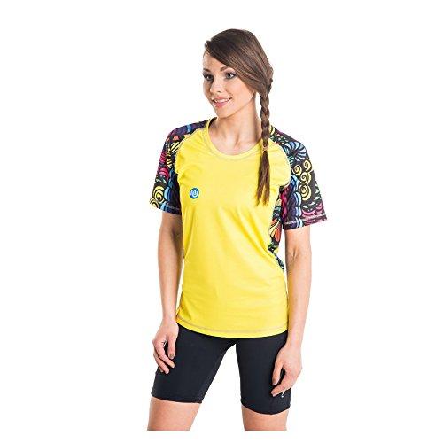 Nessi T-Shirt pour Femme DK Fitness T-Shirt de Course à Manches Longues Respirant Jaune Dreams L 01 Yellow Dreams
