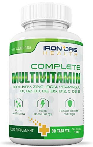 Multivitamine Complète   Multivitamines, Zinc, Fer et Magnésium   90 Comprimés   Approvisionnement de 3 Mois   Fabriqué au Royaume-Uni par Iron Ore Health