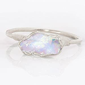Dainty Stackable Raw Opal Ring, Sterling Silver, October Birthstone
