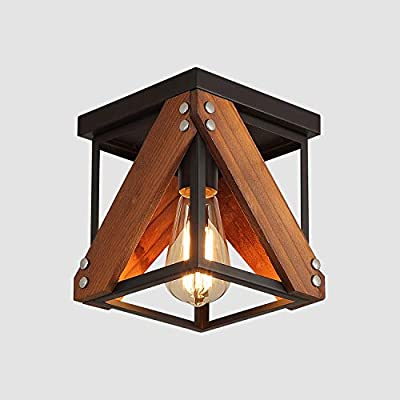 Rustic Industrial Flush Mount Ceiling Light 1-Light Metal and Wood Cage Mini Semi Flush Mount Light Fixture for Hallway Kitchen Entryway, Black