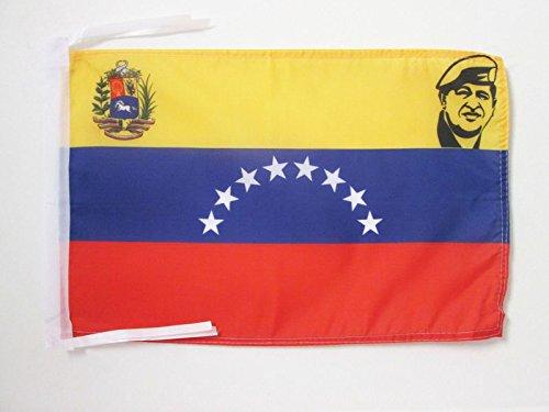 AZ FLAG Flagge Venezuela MIT Hugo Chavez 45x30cm mit Kordel - Venezuela Fahne 30 x 45 cm - flaggen Top Qualität