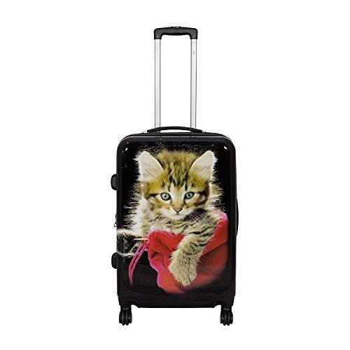 Reisekoffer Katze Trolley Koffer Bowatex Polycarbonat Hartschale Schwarz 55 cm M