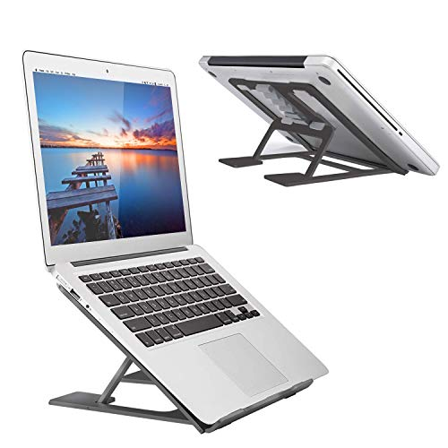 Christmas Adjustable Laptop Stand,Ventilated Portable Ergonomic Notebook Riser for Desk,Multi-Angle Adjustable Portable Anti-Slip Mount for MacBook, Surface Laptop, Notebook, 10'-17' Tablet (Black)