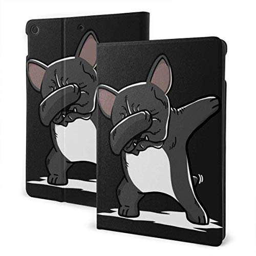 Funny French Bulldog Dabbing PU Leather Adjustable Stand Folio Case for IPad 7th 10.2', Smart Magnetic Auto Wake/Sleep Cover