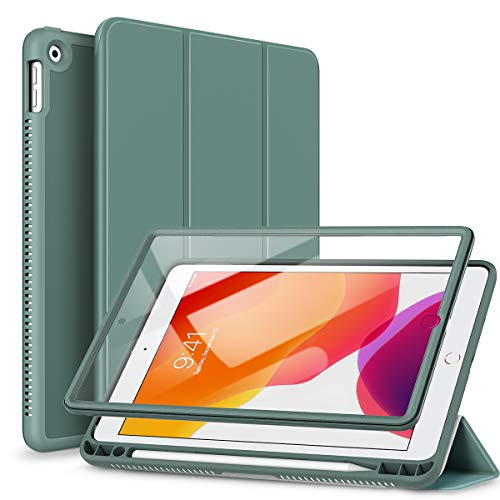 SURITCH Case for New iPad 10.2 2019 (7th Generation),[Built in Screen Protector] [Pencil Holder] [Auto Sleep/Wake] Lightweight Smart Cover and Magnetic Trifold Stand for New iPad 10.2'(Midnight Green)