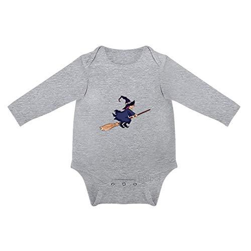 Lplpol Halloween vuelo escoba bruja beb algodn manga larga mono mono para beb unisex nios nias, 0s8l5vttf8cp