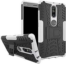 Lenovo Phab 2 Plus Case Heavy Duty Silicone Armor Kickstand Shock Phone Cover -White