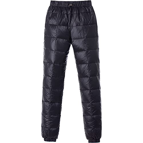 Tapasimme Men's Winter Warm Loose Utility Down Pants Sassy High Waisted Nylon Compression Snow Trousers (Medium, Black)
