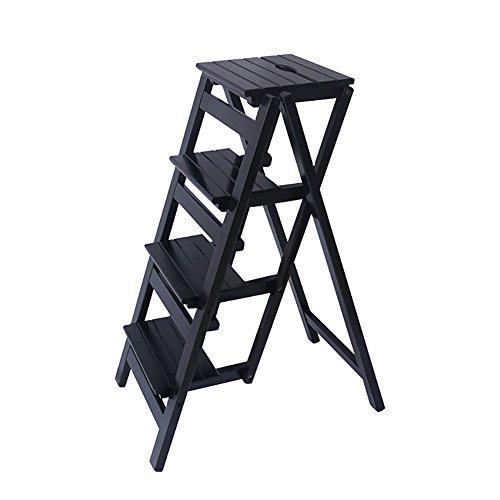 Wood Step Stoo Escalera de taburete de 4 pasos para adultos y niños Escalera de tijera de madera plegable Taburetes de pies pequeños Banqueta de jardín portátil interior / Estante para flores Taburete