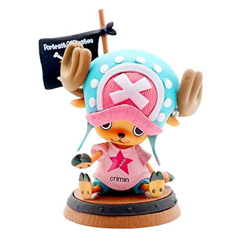 ADISVOT One Piece: Tony Tony Chopper Figura De Anime (Sostenga La Bandera) Animación Modelo Periférico Posición Sentada Muñeca Linda Decoración Figura PVC Juego De Dibujos Minifiguras, 3.9 Pulgadas