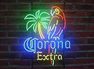 Corona Extra Parrot Lady Luck Metal Frame Neon Sign 42X32CM Real Glass Neon Sign Light for Beer Bar Pub Garage Room.