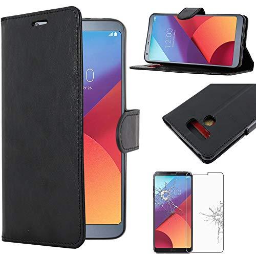 ebestStar - Cover Compatibile con LG G6 H870, G6 Dual Custodia Portafoglio Pelle PU Protezione Libro Flip, Nero + Pellicola Vetro Temperato [Apparecchio: 148.9 x 71.9 x 7.9mm, 5.7'']