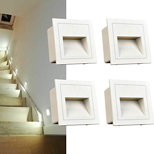 Arote 4er Set 3W LED Wandeinbauleuchte Wandleuchte Treppenlicht Stufenlicht Treppenleuchte Beleuchtung Lampe Alu aussen kal