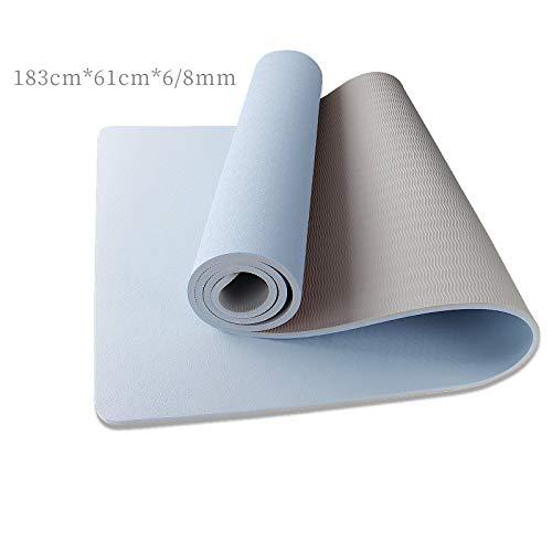 NA tappetini da yoga a casa antiscivolo ispessito e allargato femminile uomini principianti tappetino fitness, Azzurro e Grigio Chiaro, 8mm (beginner)